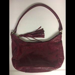 Hobo Burgundy Leather Tassled Shoulder Bag Purse
